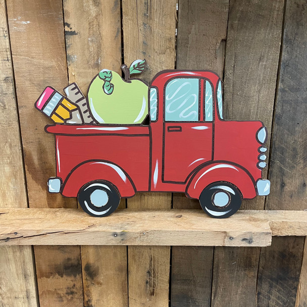 Back to School Old Style Truck Cutout, Wooden Paintable, Paint by Line