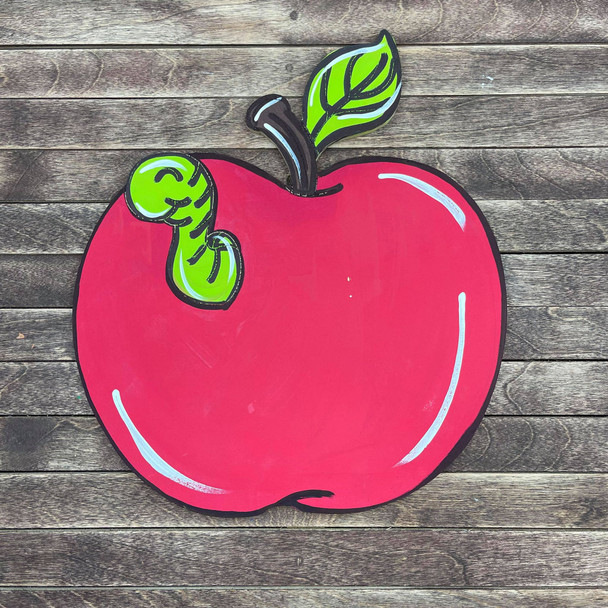 Apple with Worm Cutout, Unfinished, Paint by Line