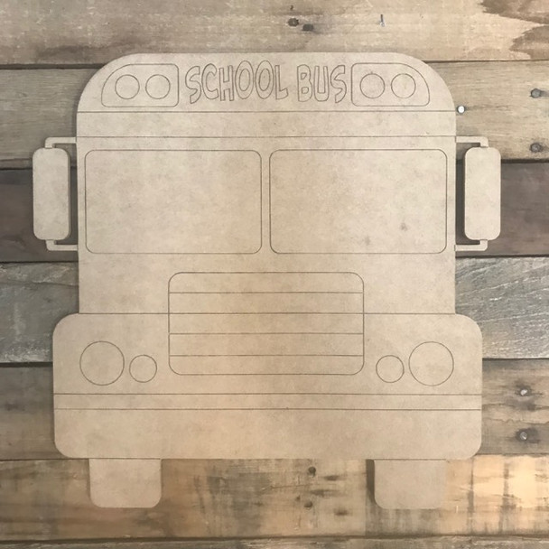 Big School Bus Cutout, Unfinished, Back to School Paint by Line
