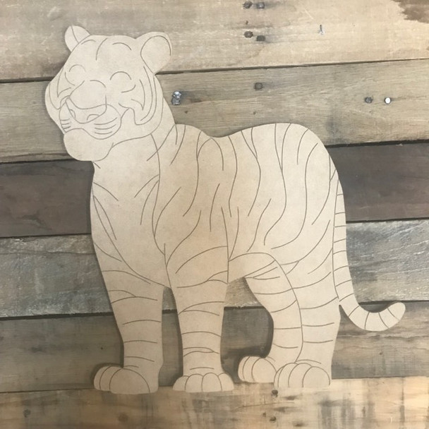 Tiger Cutout, Wooden Paint-able, Paint by Line