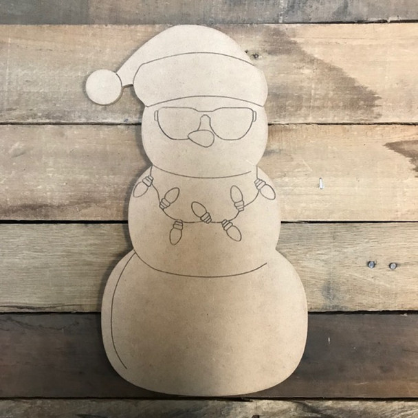 Snowman with Lights and Sunglasses Cutout, Unfinished, Paint by Line