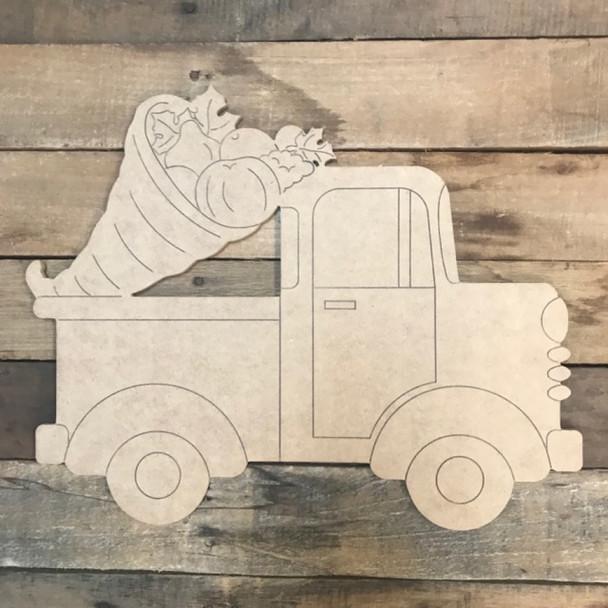 Cornucopia Truck Cutout, Unfinished Shape, Paint by Line