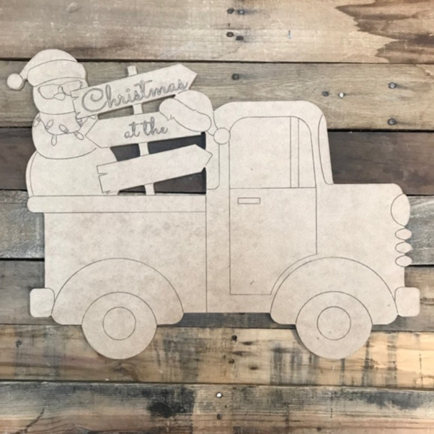 Christmas at the Blank Sign Truck Cutout, Wooden Shape, Paint by Line