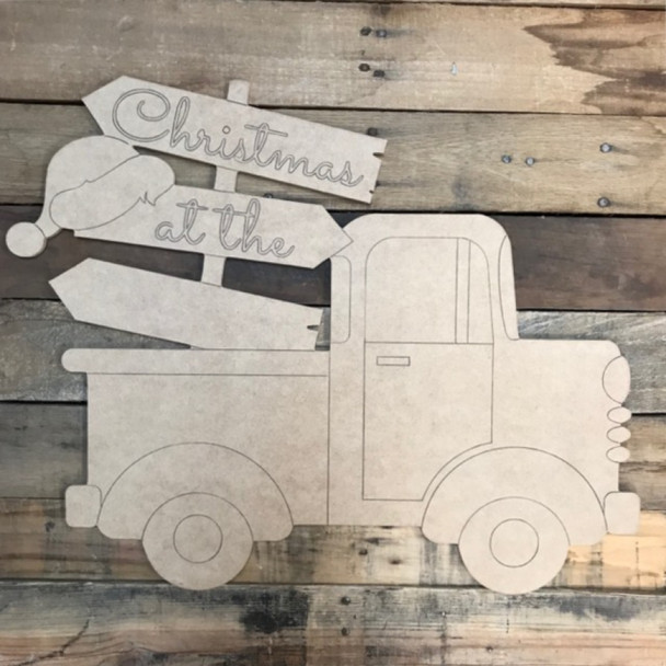 Christmas Blank Hat Sign Truck Cutout, Wood Shape, Paint by Line