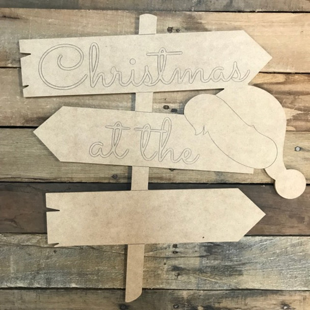 Christmas Blank Hat Sign  Cutout, Wood Shape, Paint by Line