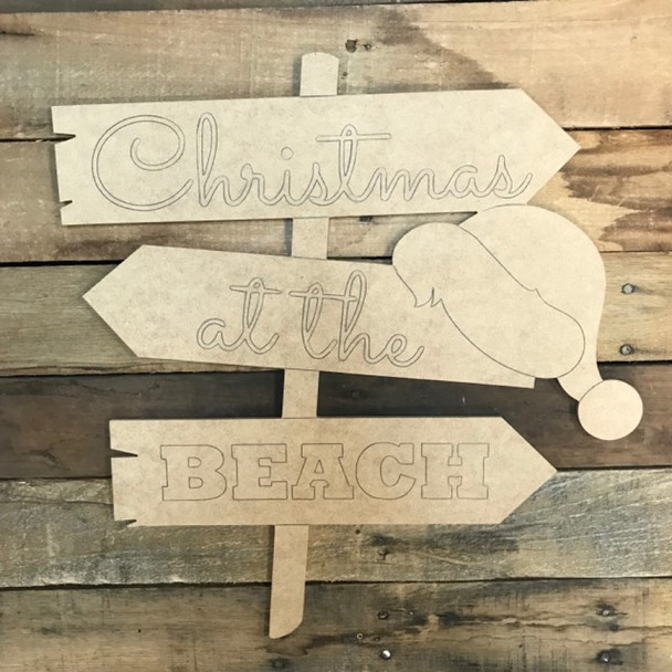 Christmas Beach Hat Sign  Cutout, Wood Shape, Paint by Line