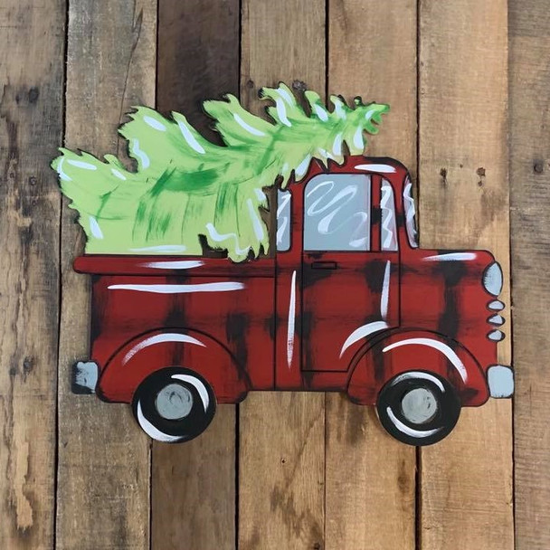 Christmas Tree in Truck Cutout, Unfinished Shape, Paint by Line