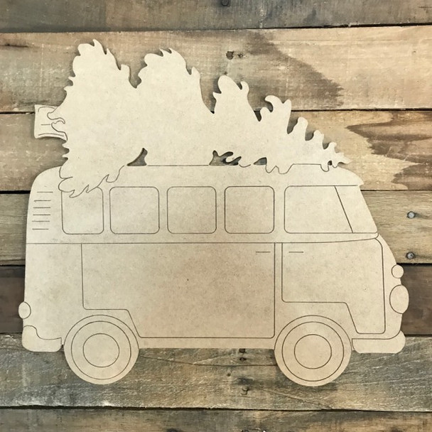 Van with Christmas Tree Cutout, Unfinished Shape, Paint by Line