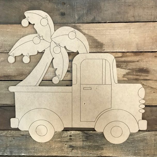 Truck with Palm Christmas Tree Cutout, Unfinished Shape, Paint by Line