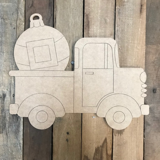 Truck with Ornament Cutout, Unfinished Shape, Paint by Line