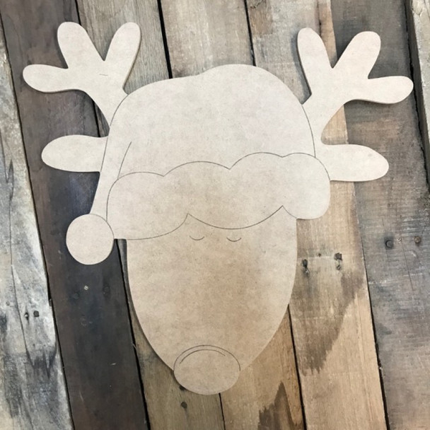Reindeer Head Cutout, Unfinished Shape, Paint by Line
