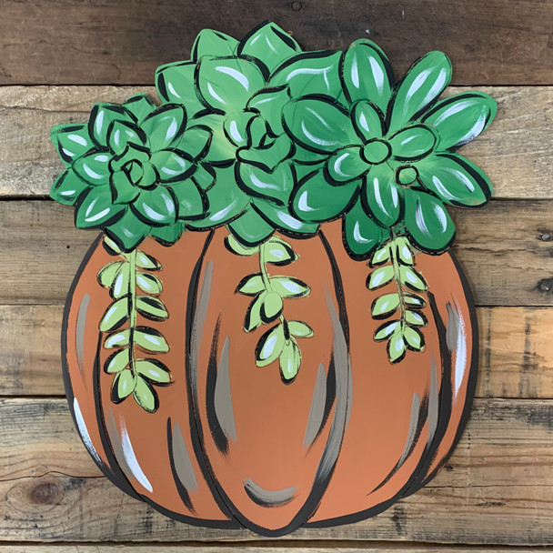 Succulent Pumpkin Cutout, Wood Shape, Paint by Line