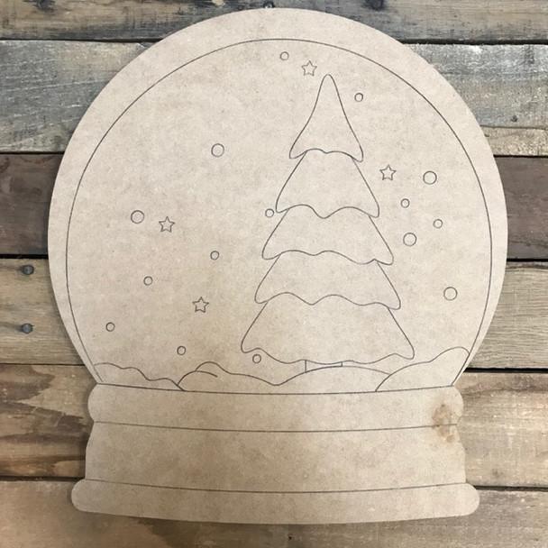 Christmas Tree Snow Globe Cutout, Wood Shape, Paint by Line