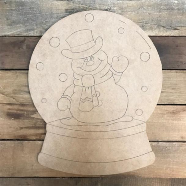 Snowman Snow Globe Cutout, Shape, Paint by Line