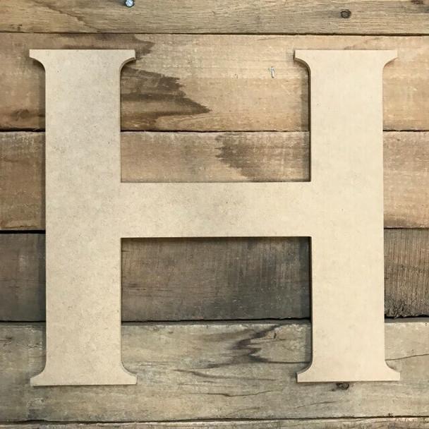 Unfinished Wood Letter Paintable DIY Craft-H