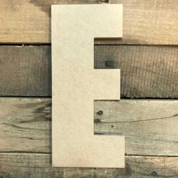 Wooden Letter Block Font Unfinished DIY Wall Decor-E