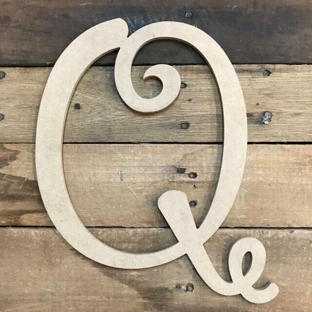 Unfinished Custom Cursive Letters-Q