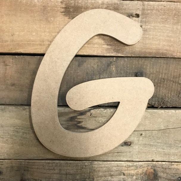 Wooden Letters Unfinished MDF Comic Font-G