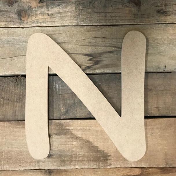 Wooden Letters Unfinished MDF Comic Font-N