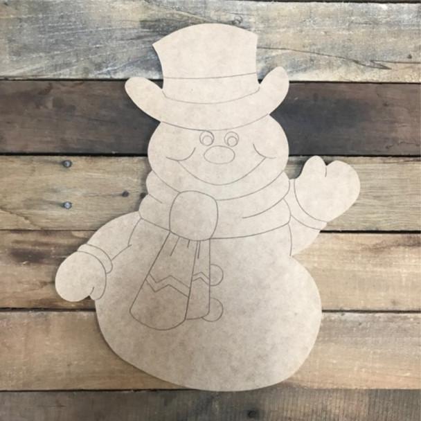 Snowman Cutout, Unfinished Shape, Paint by Line