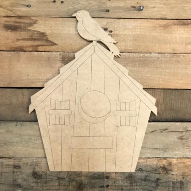 Birdhouse with Bird, Cutout, Shape, Paint by Line