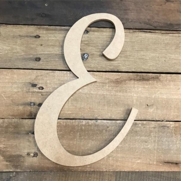 Wooden Letters Unfinished MDF Dancing Script-E