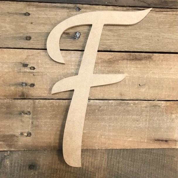 Wooden Letters Unfinished MDF Dancing Script-F