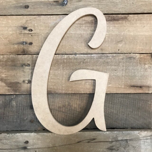 Wooden Letters Unfinished MDF Dancing Script-G