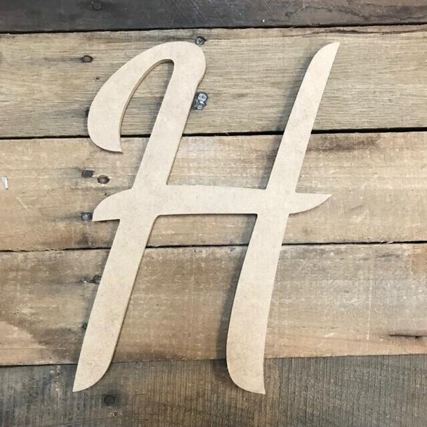 Wooden Letters Unfinished MDF Dancing Script-H