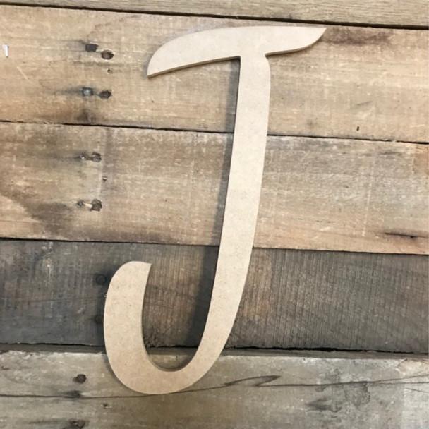 Wooden Letters Unfinished MDF Dancing Script-J
