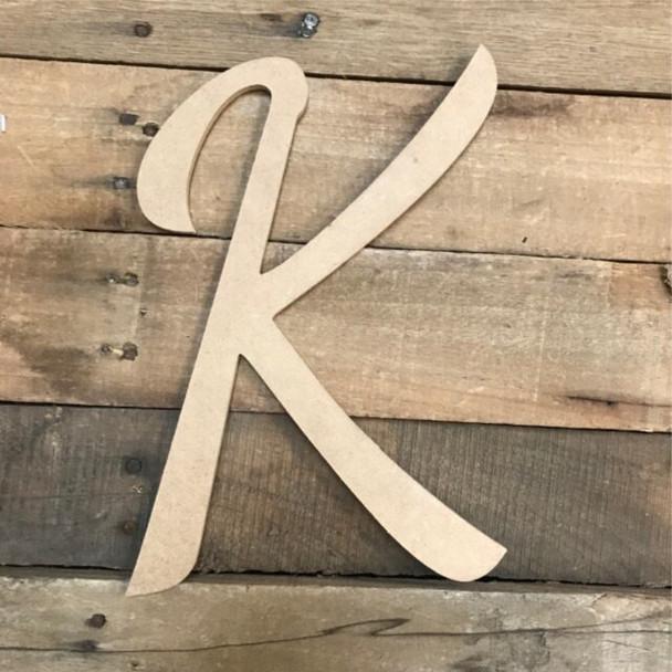 Wooden Letters Unfinished MDF Dancing Script-K