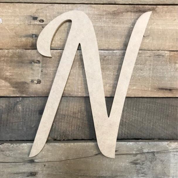Wooden Letters Unfinished MDF Dancing Script-N