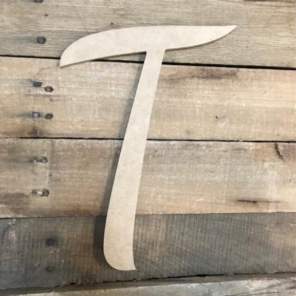 Wooden Letters Unfinished MDF Dancing Script-T