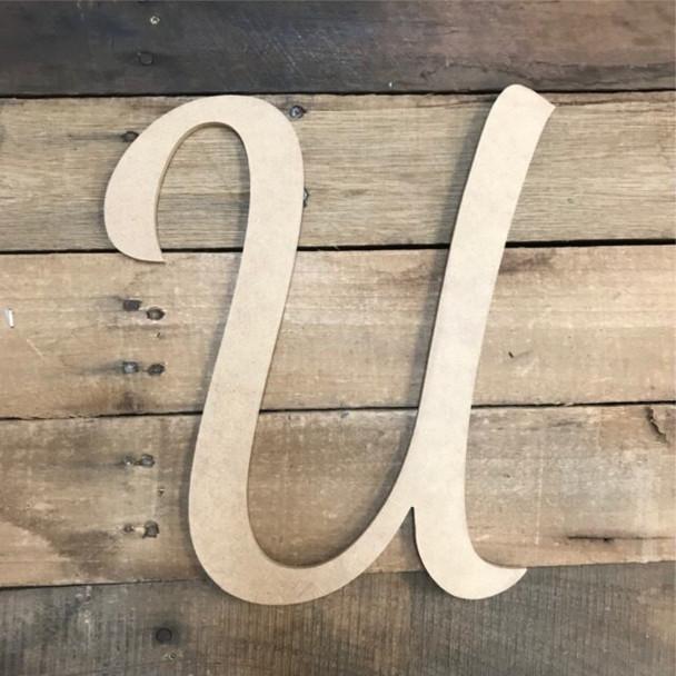 Wooden Letters Unfinished MDF Dancing Script-U
