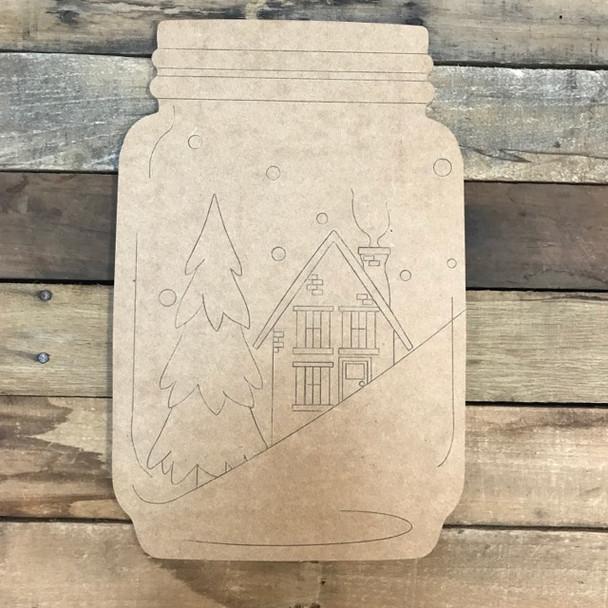 Christmas Mason Jar Cutout, Shape, Paint by Line