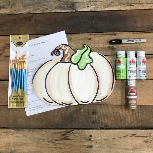 Wide Pumpkin,  Paint Kit, Video Tutorial and Instructions
