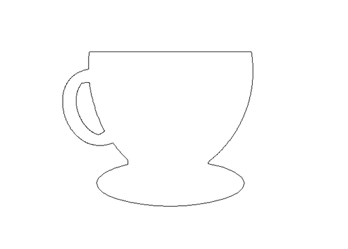 Tea Cup With Plate Unfinished Cutout Wooden Shape