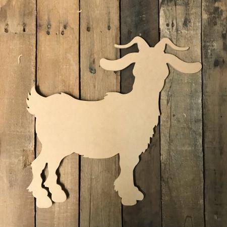 Wooden Goat Cutout, Wooden Goat Paintable Shape