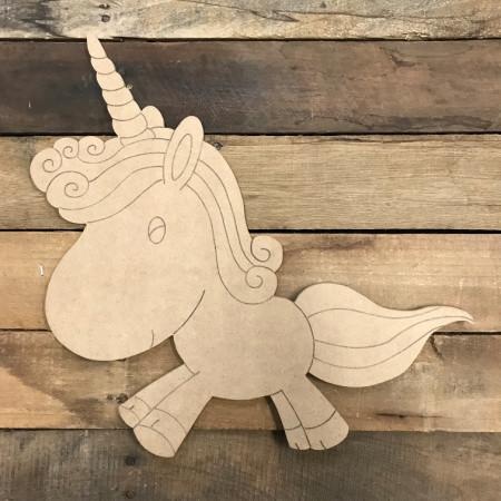 Unicorn DIY, Unfinished Wood Cutout, Paint by Line