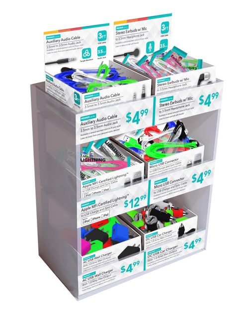 Premier Cellular 3-Tier Bulk Counter Display -144pc