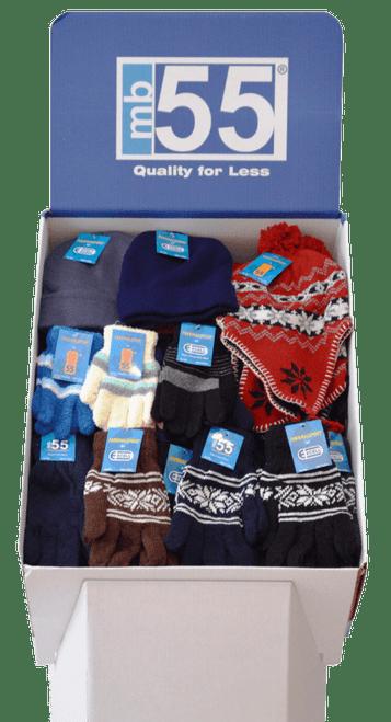 Winter Hats & Gloves Dump Bin - 60pc