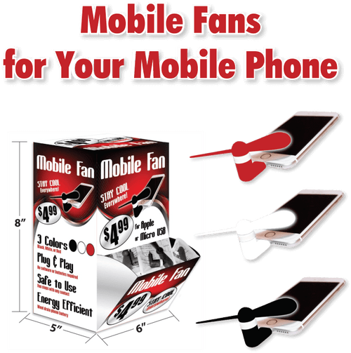 Mobile Fans for Mobile Phones Counter Display - 24pc