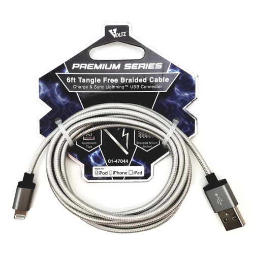 MFI Lightning USB 6' Braided Cable - Silver