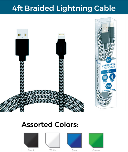 4ft Braided Lighning USB Cable
