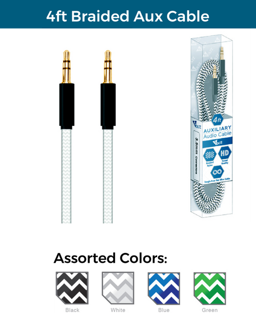 4ft Braided Aux Cable
