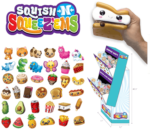 Squish-N-Squeezems Counter Display - 36pc