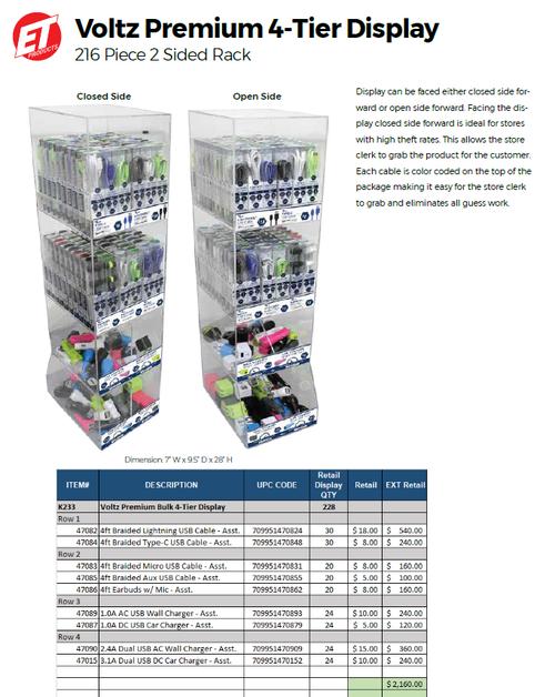 Voltz Premium 4 Tier Display - 216pc 2 Sided Rack