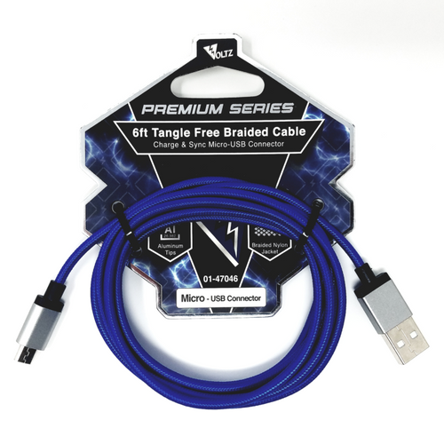 Micro-USB 6' Braided Cable - Blue