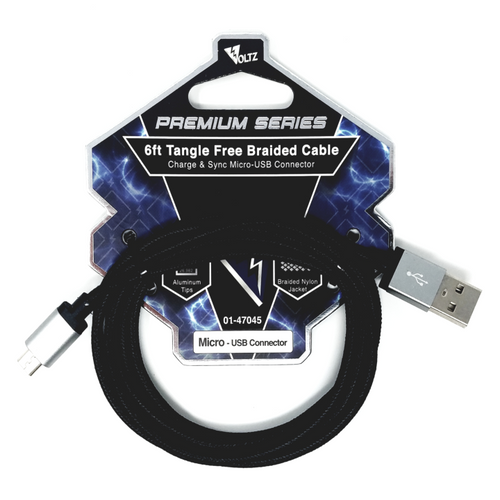 Micro-USB 6' Braided Cable - Black