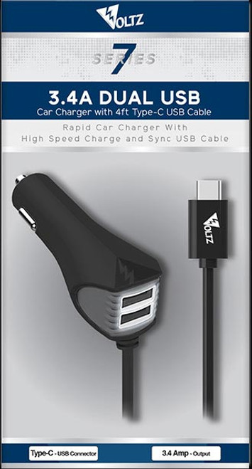 3.4A Dual USB DC Car Charger w/4ft Type C Cable - Black